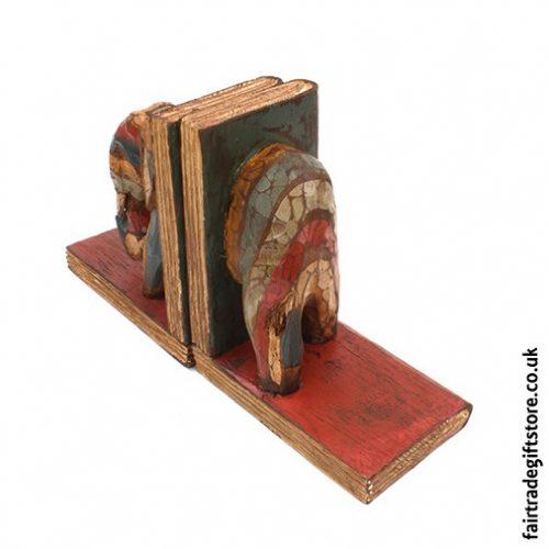 Fair Trade Wooden Bookends - Rear