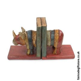 Fair Trade Wooden Bookends - Rhino