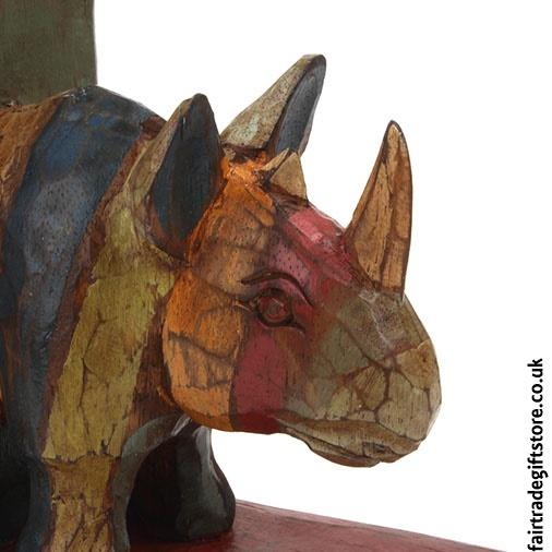 Fair Trade Wooden Bookends - Rhino - Detail