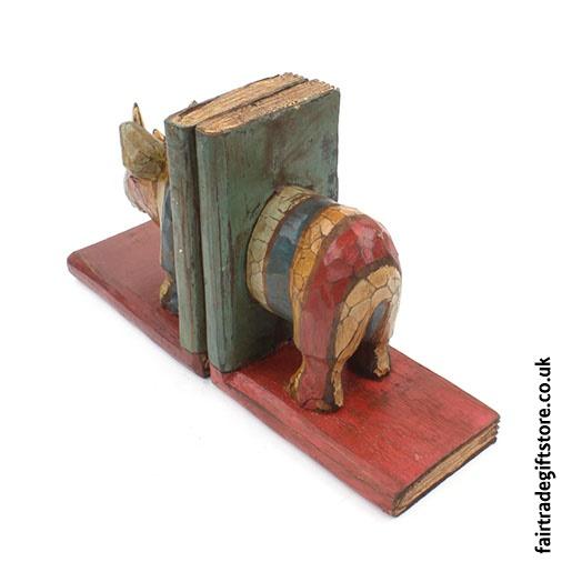 Fair Trade Wooden Bookends - Rhino - Rear