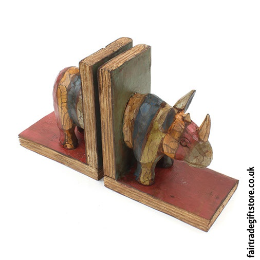 Fair Trade Wooden Bookends - Rhino - turned