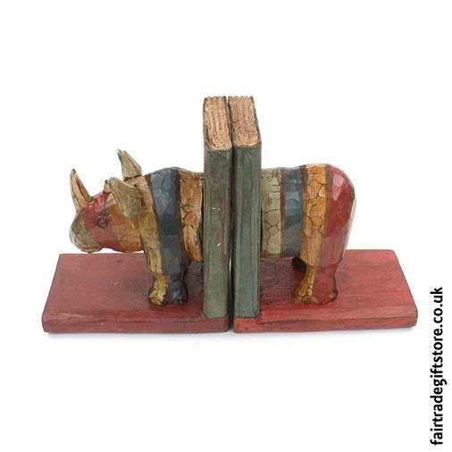 Fair Trade Wooden Bookends - Rhino