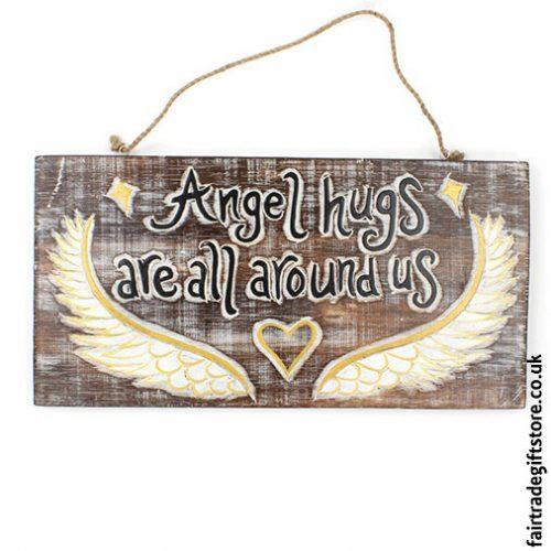 Fair-Trade-Wooden-Wall-Plaque-Angel-hugs