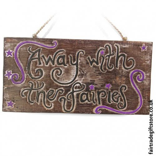 Fair-Trade-Wooden-Wall-Plaque-Away-with-the-fairies