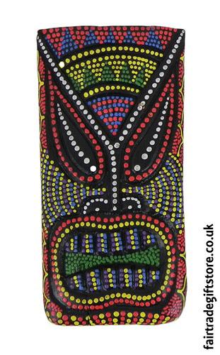 Fair-Trade-Wooden-Wall-Plaque-Colourful-Tiki-Face-3