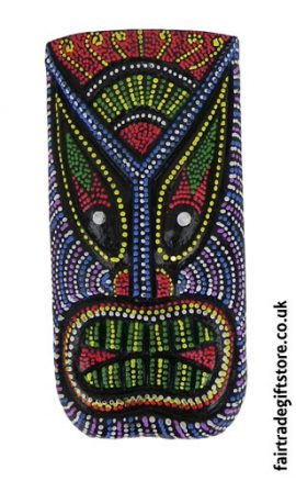 Fair-Trade-Wooden-Wall-Plaque-Colourful-Tiki-Face-4