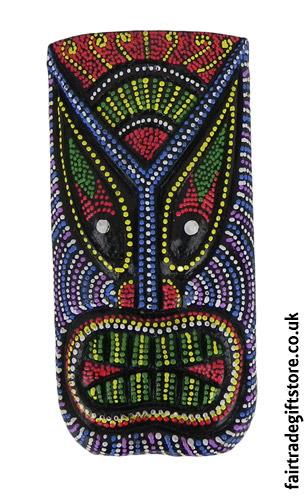 Fair-Trade-Wooden-Wall-Plaque-Colourful-Tiki-Face-4