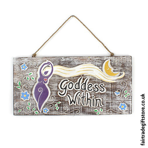 Fair-Trade-Wooden-Wall-Plaque-Goddess-Within