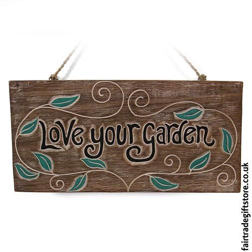 Fair-Trade-Wooden-Wall-Plaque-Love-Your-Garden