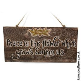 Fair-Trade-Wooden-Wall-Plaque-Peace-is-the-flower
