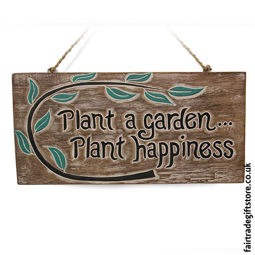 Fair-Trade-Wooden-Wall-Plaque-Plant-a-garden.....-Plant-happiness