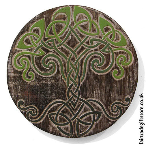 Fair-Trade-Wooden-Wall-Plaque-Round-Celtic-Tree-of-Life