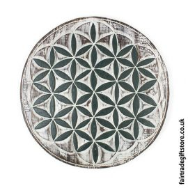 Fair-Trade-Wooden-Wall-Plaque-Round-Flower-of-Life