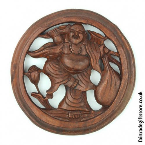 Fair-Trade-Wooden-Wall-Plaque-Round-Laughing-Buddha