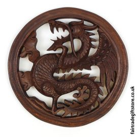 Fair-Trade-Wooden-Wall-Plaque-Round-Laughing-Dragon
