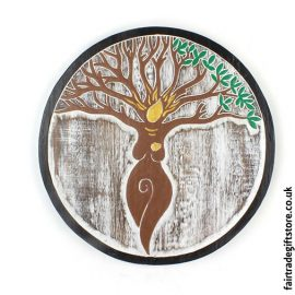 Fair-Trade-Wooden-Wall-Plaque-Round-Tree-Goddess