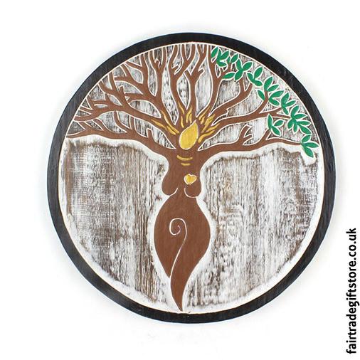 Fair-Trade-Wooden-Wall-Plaque-Round-Tree-Goddess