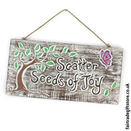 Fair-Trade-Wooden-Wall-Plaque-Scatter-Seeds-of-Joy
