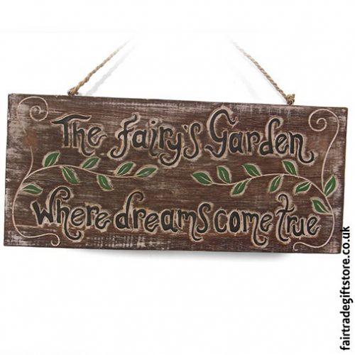 Fair-Trade-Wooden-Wall-Plaque-The-fairy's-garden