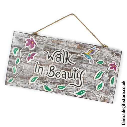 Fair-Trade-Wooden-Wall-Plaque-Walk-in-Beauty