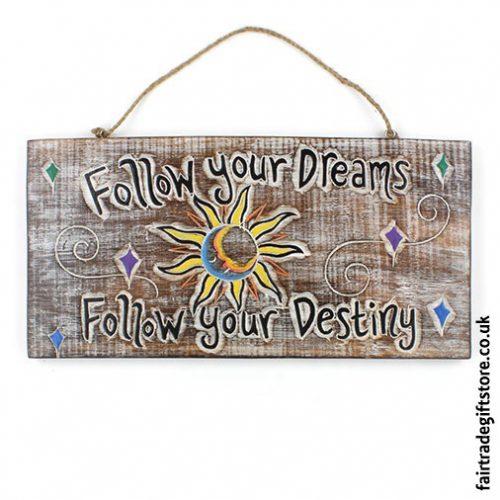Fair-Trade-Wooden-Wall-Plaque-follow-your-dreams