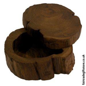 Fair Trade Wooden Log Trinket Box
