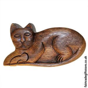 Fair-Trade-Wooden-Puzzle-Trinket-Box,-Cat