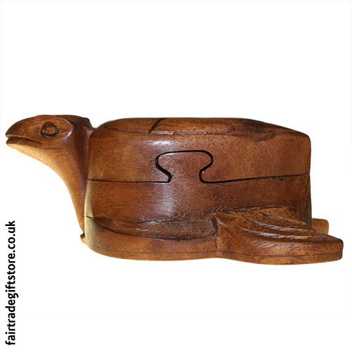 Fair-Trade-Wooden-Puzzle-Trinket-Box,-Tortoise