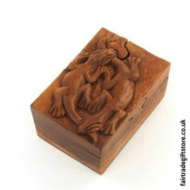 Fair-Trade-Wooden-Puzzle-Trinket-Box,-Two-Geckos