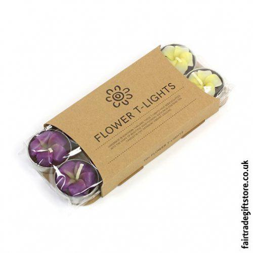 Fair-Trade-Sculpted-Tea-Light-Candles-Frangipani-Flower