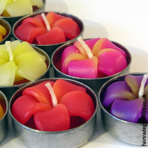 Fair-Trade-Sculpted-Tea-Light-Candles-Frangipani-Flower-close-up