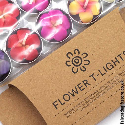 Fair-Trade-Sculpted-Tea-Light-Candles-Frangipani-Flower-detail