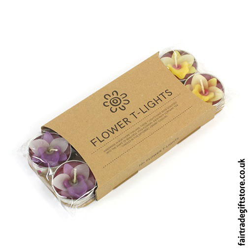 Fair-Trade-Sculpted-Tea-Light-Candles-Orchid-Flower
