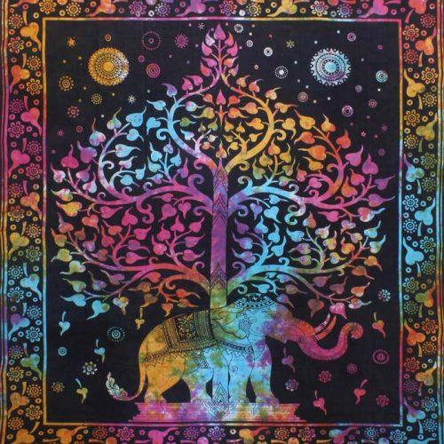 Fair-Trade-Cotton-Throw-Multicoloured-Elephant-Tree