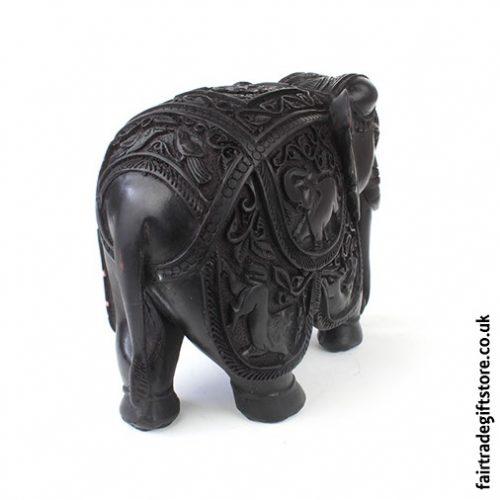 Fair Trade Resin Detailed Elephant Statue Back