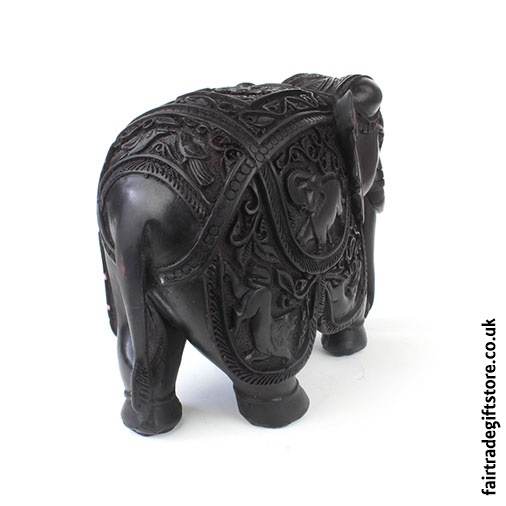 Fair Trade Resin Detailed Elephant Statue Back