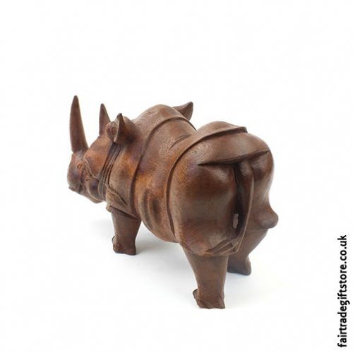 Hand Carved Wooden Rhino Statue Back