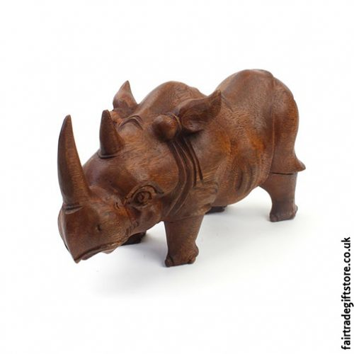 Hand Carved Wooden Rhino Statue Front
