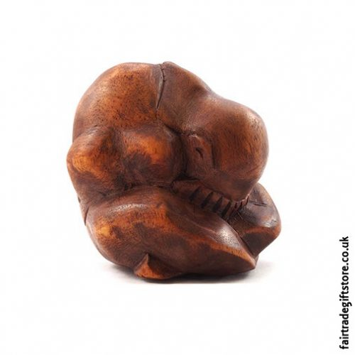 Wooden Carved Yogi Statue Side