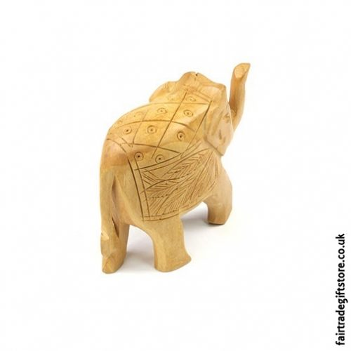 Wooden Hand Carved Elephant Statue back view