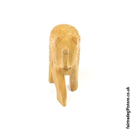 Wooden Hand Carved Elephant Statue front view