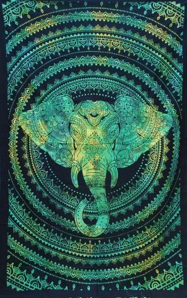 Green-Single-Elephant-Mandala-Throw