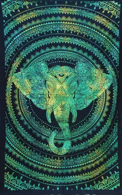 Green-Single-Elephant-Mandala-Throw