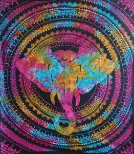 Multicoloured-Double-Elephant-Mandala-Throw