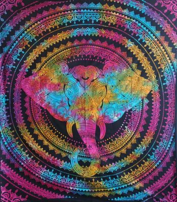 Multicoloured-Double-Elephant-Mandala-Throw