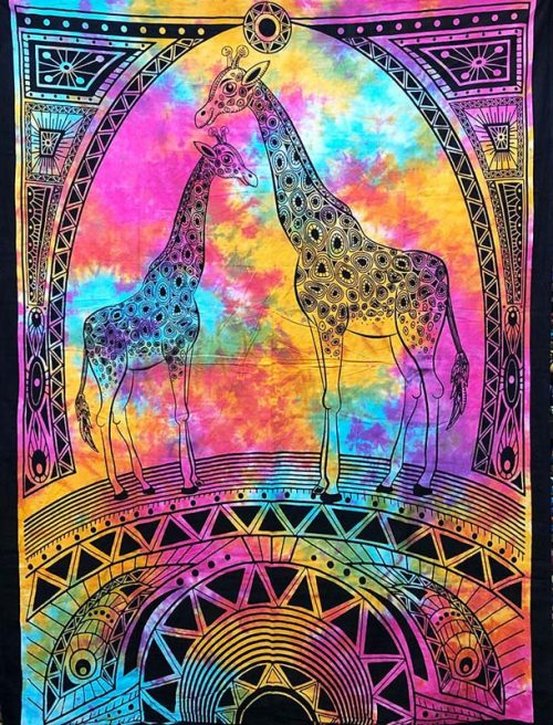 Tie-Dye-Giraffe-Throw