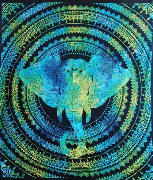 Turquoise-Double-Elephant-Mandala-Throw