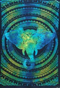 Turquoise-Single-Elephant-Mandala-Throw