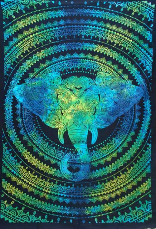 Turquoise-Single-Elephant-Mandala-Throw