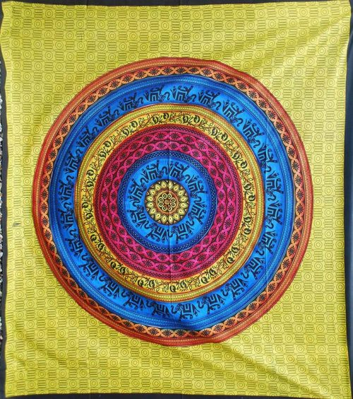 Yellow-Double-Mandala-Elephant-Throw